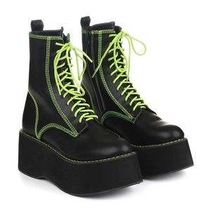 black and green koi footwear platform boots